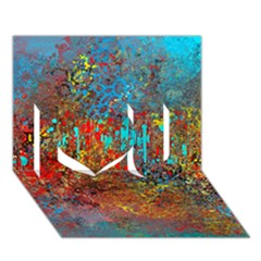 Abstract In Red, Turquoise, And Yellow I Love You 3d Greeting Card (7x5)