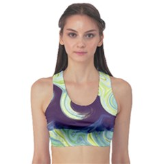 Abstract Ocean Waves Sports Bra by theunrulyartist