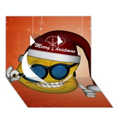 Funny Christmas Smiley With Sunglasses Heart 3D Greeting Card (7x5)