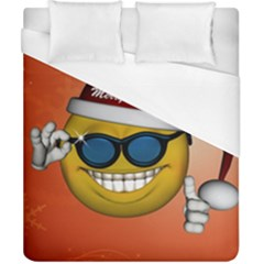 Funny Christmas Smiley With Sunglasses Duvet Cover Single Side (double Size) by FantasyWorld7