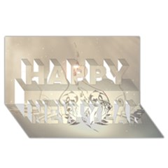 Music, Piano With Clef On Soft Background Happy New Year 3d Greeting Card (8x4)