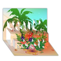 Tropical Design With Palm And Flowers You Rock 3D Greeting Card (7x5)