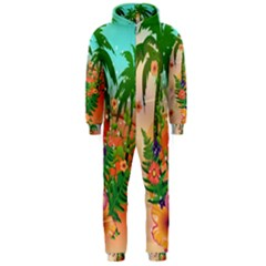 Tropical Design With Palm And Flowers Hooded Jumpsuit (men)  by FantasyWorld7