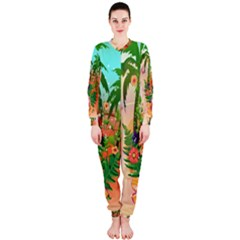 Tropical Design With Palm And Flowers OnePiece Jumpsuit (Ladies)  by FantasyWorld7