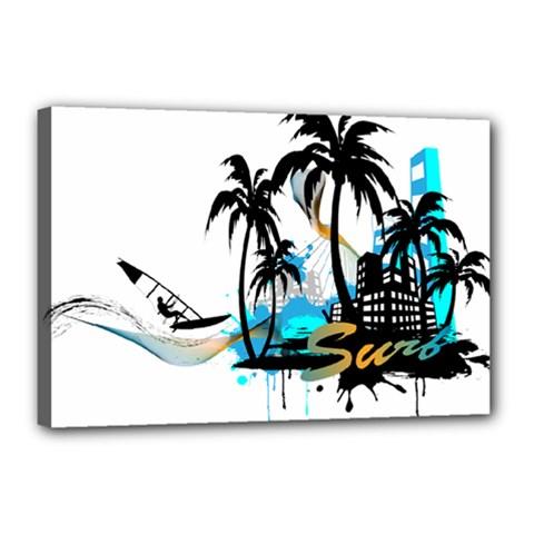 Surfing Canvas 18  X 12  by EnjoymentArt