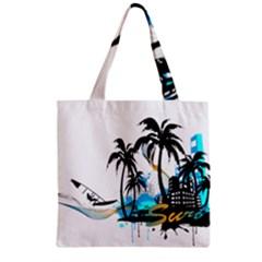 Surfing Zipper Grocery Tote Bags by EnjoymentArt