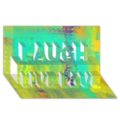 Abstract In Turquoise, Gold, And Copper Laugh Live Love 3d Greeting Card (8x4)  by theunrulyartist
