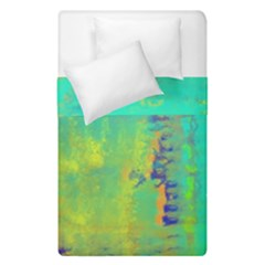 Abstract In Turquoise, Gold, And Copper Duvet Cover (single Size) by theunrulyartist