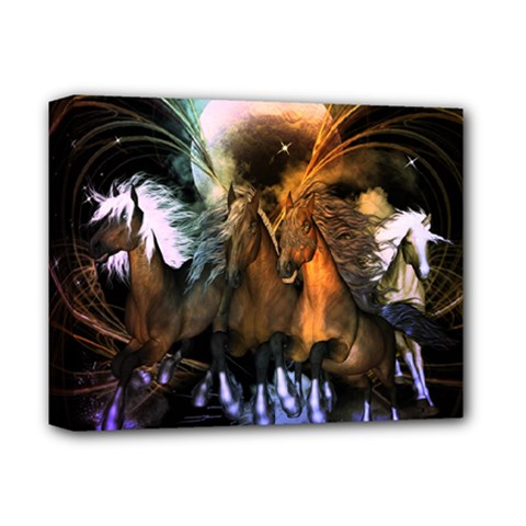 Wonderful Horses In The Universe Deluxe Canvas 14  X 11  by FantasyWorld7
