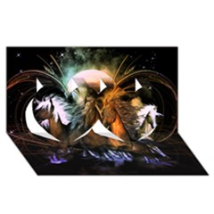 Wonderful Horses In The Universe Twin Hearts 3d Greeting Card (8x4)