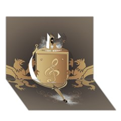 Music, Clef On A Shield With Liions And Water Splash Apple 3d Greeting Card (7x5)