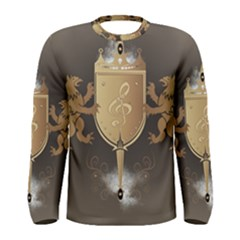 Music, Clef On A Shield With Liions And Water Splash Men s Long Sleeve T-shirts by FantasyWorld7