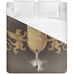 Music, Clef On A Shield With Liions And Water Splash Duvet Cover Single Side (double Size) by FantasyWorld7