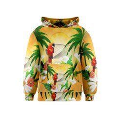 Cute Parrot With Flowers And Palm Kid s Pullover Hoodies by FantasyWorld7