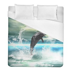 Funny Dolphin Jumping By A Heart Made Of Water Duvet Cover Single Side (twin Size) by FantasyWorld7