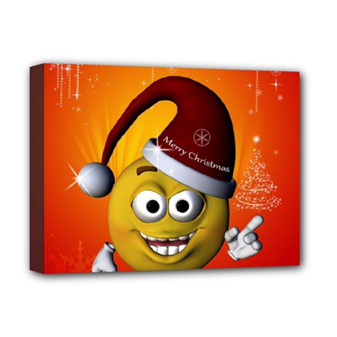 Cute Funny Christmas Smiley With Christmas Tree Deluxe Canvas 16  X 12   by FantasyWorld7