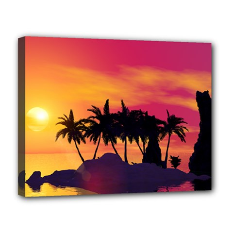 Wonderful Sunset Over The Island Canvas 14  X 11  by FantasyWorld7