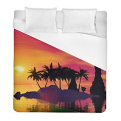 Wonderful Sunset Over The Island Duvet Cover Single Side (twin Size) by FantasyWorld7