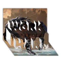 Beautiful Horse With Water Splash Work Hard 3d Greeting Card (7x5)  by FantasyWorld7
