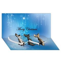 Merry Chrsitmas Twin Heart Bottom 3D Greeting Card (8x4)
