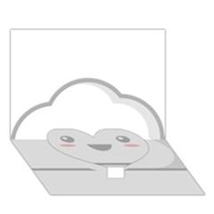 Kawaii Cloud Heart Bottom 3d Greeting Card (7x5)  by KawaiiKawaii