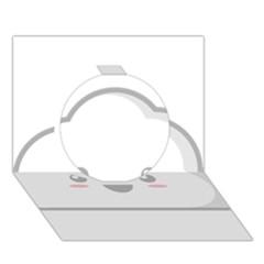Kawaii Cloud Circle 3D Greeting Card (7x5)