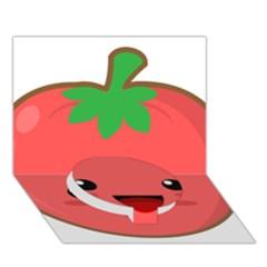Kawaii Tomato Circle Bottom 3D Greeting Card (7x5)