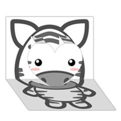 Kawaii Zebra Heart 3d Greeting Card (7x5)