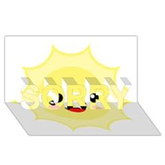 Kawaii Sun Sorry 3d Greeting Card (8x4)  by KawaiiKawaii