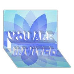 Abstract Lotus Flower 1 You Are Invited 3d Greeting Card (7x5)  by MedusArt