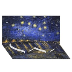 Vincent Van Gogh Starry Night Over The Rhone Twin Heart Bottom 3d Greeting Card (8x4)  by MasterpiecesOfArt