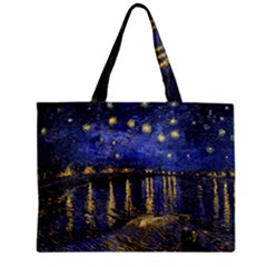 Vincent Van Gogh Starry Night Over The Rhone Tiny Tote Bags by MasterpiecesOfArt