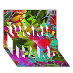 Floral Abstract 1 Work Hard 3d Greeting Card (7x5)  by MedusArt