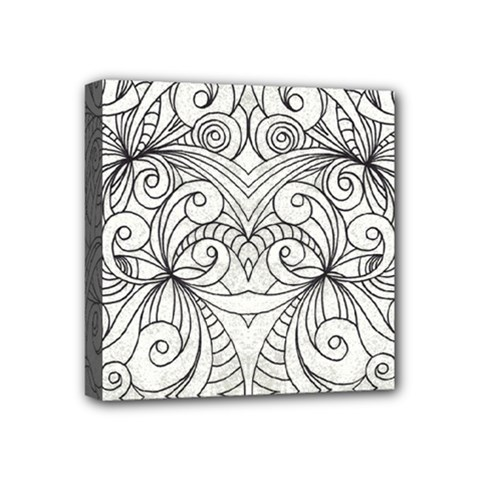 Drawing Floral Doodle 1 Mini Canvas 4  X 4  by MedusArt