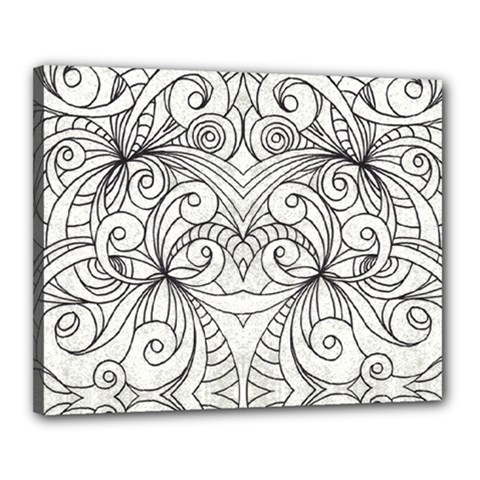 Drawing Floral Doodle 1 Canvas 20  X 16  by MedusArt