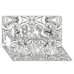 Drawing Floral Doodle 1 Best Friends 3d Greeting Card (8x4)  by MedusArt