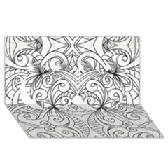 Drawing Floral Doodle 1 Twin Hearts 3d Greeting Card (8x4)  by MedusArt