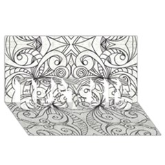 Drawing Floral Doodle 1 Best Sis 3d Greeting Card (8x4)  by MedusArt
