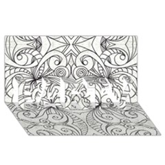 Drawing Floral Doodle 1 Party 3d Greeting Card (8x4)  by MedusArt