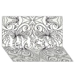 Drawing Floral Doodle 1 Hugs 3d Greeting Card (8x4)  by MedusArt