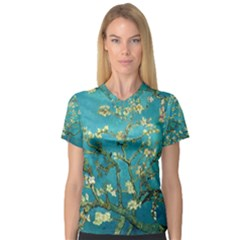 Blossoming Almond Tree Women s V-Neck Sport Mesh Tee by MasterpiecesOfArt