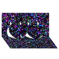 Glitter 1 Twin Hearts 3d Greeting Card (8x4)  by MedusArt