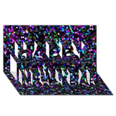 Glitter 1 Happy New Year 3d Greeting Card (8x4)  by MedusArt