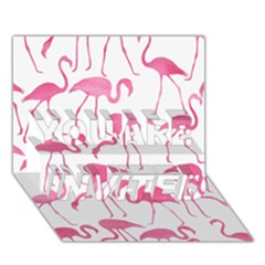 Pink Flamingos Pattern You Are Invited 3d Greeting Card (7x5)  by Patterns