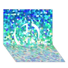 Mosaic Sparkley 1 Peace Sign 3d Greeting Card (7x5)  by MedusArt