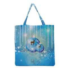 Wonderful Christmas Ball With Reindeer And Snowflakes Grocery Tote Bags by FantasyWorld7