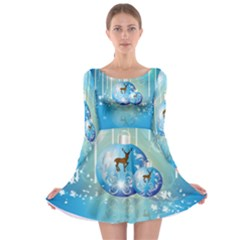 Wonderful Christmas Ball With Reindeer And Snowflakes Long Sleeve Skater Dress by FantasyWorld7