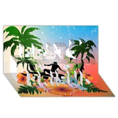 Tropical Design With Surfboarder Best Friends 3d Greeting Card (8x4)  by FantasyWorld7