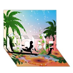 Tropical Design With Surfboarder Hope 3d Greeting Card (7x5)  by FantasyWorld7