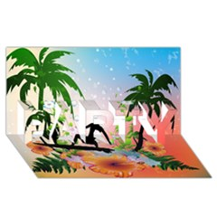 Tropical Design With Surfboarder Party 3d Greeting Card (8x4)  by FantasyWorld7